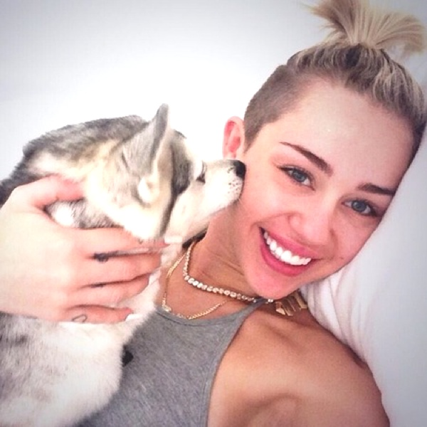 Miley Cyrus with her dog