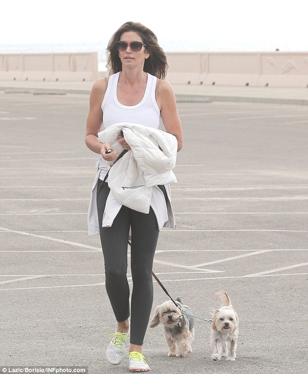 Beach stroll: Cindy Crawford takes an afternoon stroll with her dogs on Saturday at her oceanside community in Malibu, California