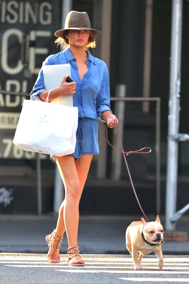 Chrissy Teigen and dog