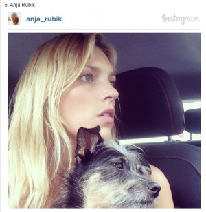 Anja Rubik and her dog on Instagram