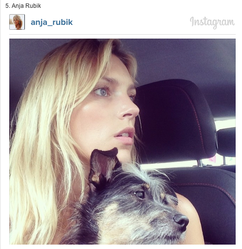 Anja Rubik and her dog on Instagram Models and their Dogs