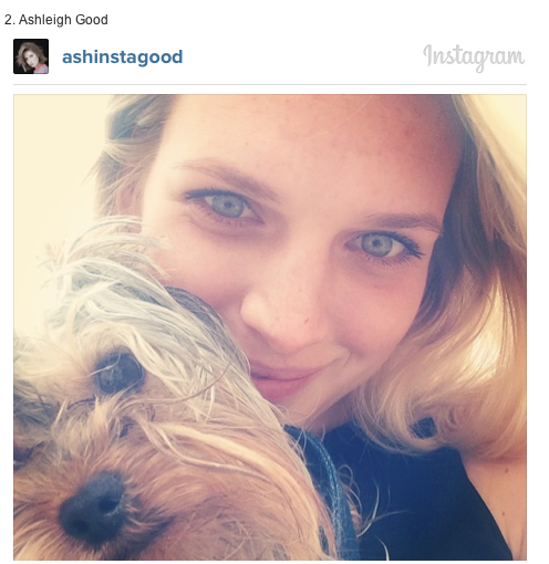 Ashleigh Good and her dog on Instagram