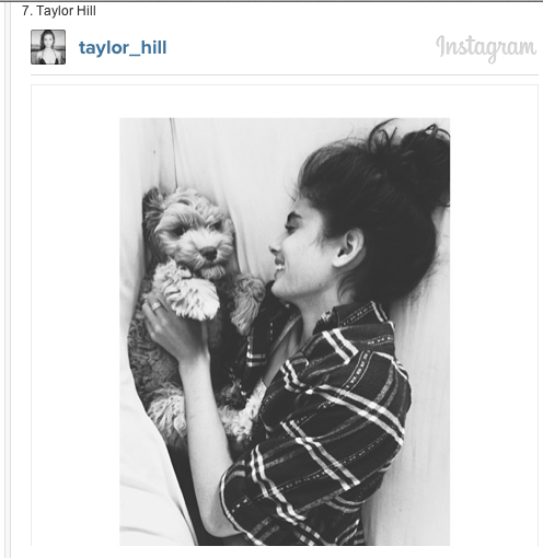 Taylor Hill and her dog on Instagram-Models and their Dogs